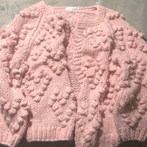 Sweaters - Pink knitted sweater with heart shape detail